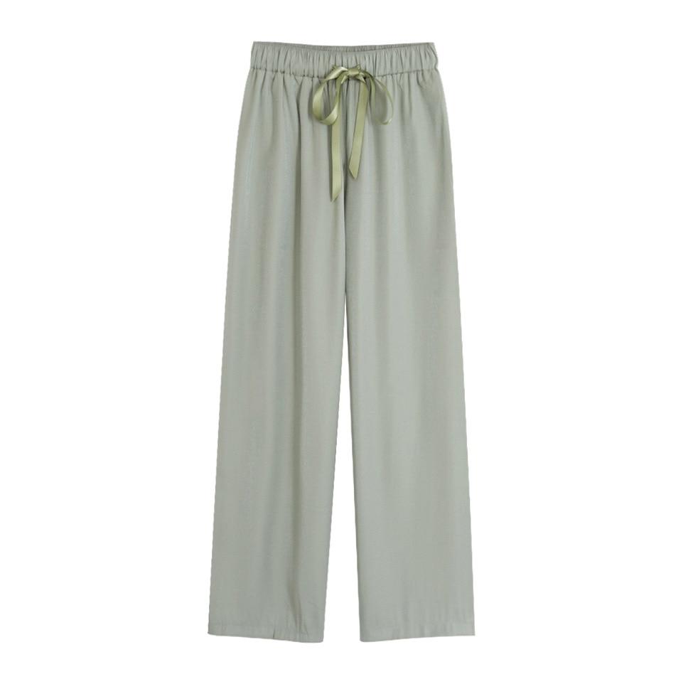 Wide     Leg     Pants   Women Summer Korean Chiffon Loose Straight   Pants   Girls Thin Green Ladies Casual Wear Female Lace Up Trousers Hot