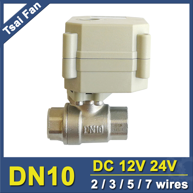 Tsai Fan Motorized Ball Valve 2/3/5/7 Wires DN10 BSP/NPT 3/8'' SS304 Electric Ball Valve For Water Application tsai fan motorized ball valve 2 ac110 230v 2 5 wires electric valve dn50 upvc ball valve normal close open for hvac systems