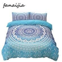 Sistemas del lecho 3d boho Bohemia Mandala azul impresión conjunto funda nórdica bedsheet funda de Almohada king size ropa de Cama de Algodón