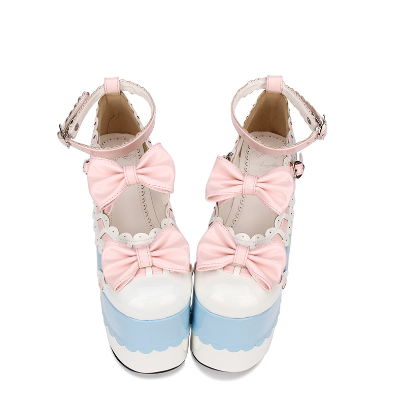 Angelic imprint New Designer Sweet Bowknot Round Toe Platform shoes Women Lolita Cosplay Pumps size 35-46 9896 sweet round neck sleeveless bowknot design women s tank top