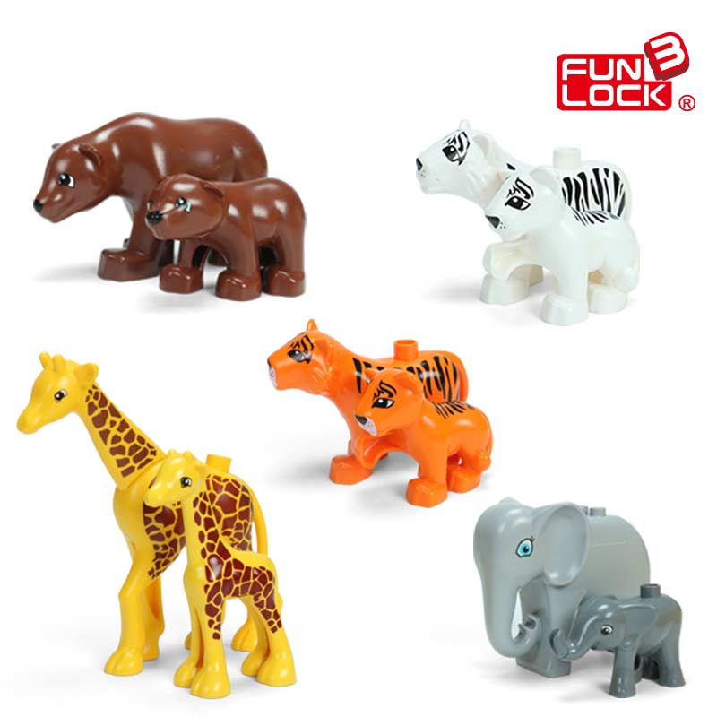 Jungle Animal Tiger Set Bear Giraffe Elephant Duplo Blocks Toy For Kid wild animal toy original genuine wild jungle zoo farm plastic animals elephant tiger polar bear cheetah children s gift