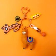 Cute Cartoon Alpaca Keychain Car Key Holder Resin Bell Animal Chain Bag Pendant Bts Accessories Girl Gift
