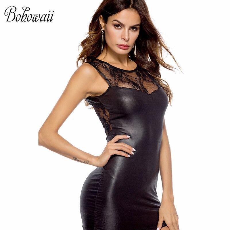 BOHOWAII Punk Rock Faux Leather Sexy Costumes Bodysuit Plus Size Lace Clubwear Halloween Women Dress plus size women in leather