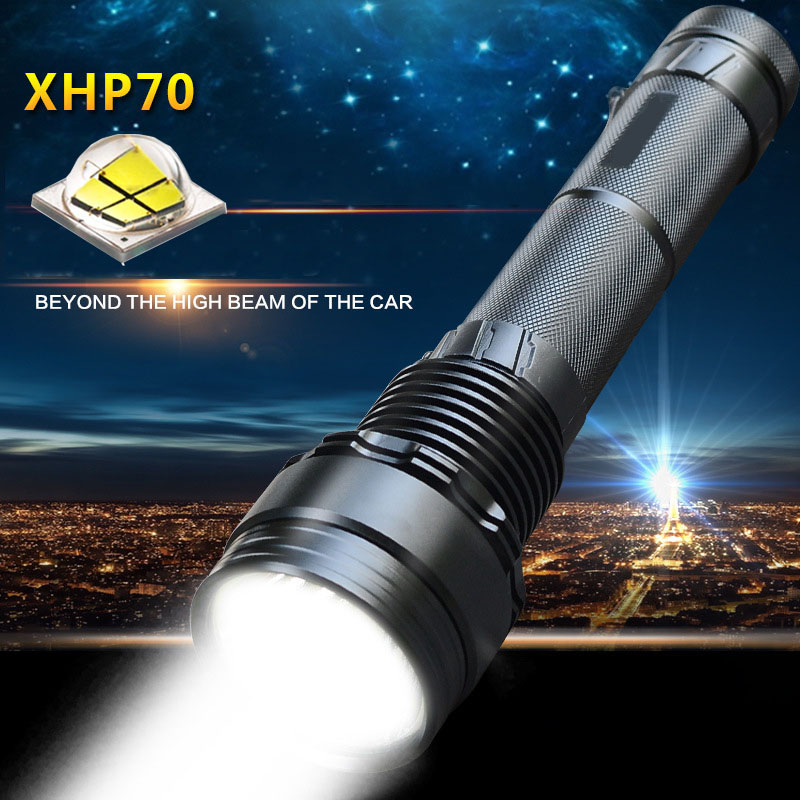 Hunting tactical LED flashlight CREE XHP70 lamp beads brighter high power 4022Lumens LED flashlight torch for Hunting 10x original cree xhp70 12v led diode for led flashlight free shipping