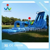 Giant inflatable water slide with swimming pool for children,heavy duty pvc inflatable kids slide with wave