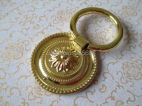 Vintage Style Dresser Pull Ring Drawer Pulls Handles Gold Flower Kitchen Cabinet Knob Handle Antique