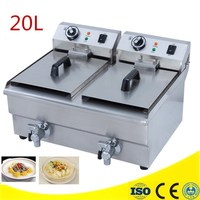 Best Price 20L Commercial Deep Fryer Countertop Stainless Steel Dual Tank Restaurant With Digital Timer And