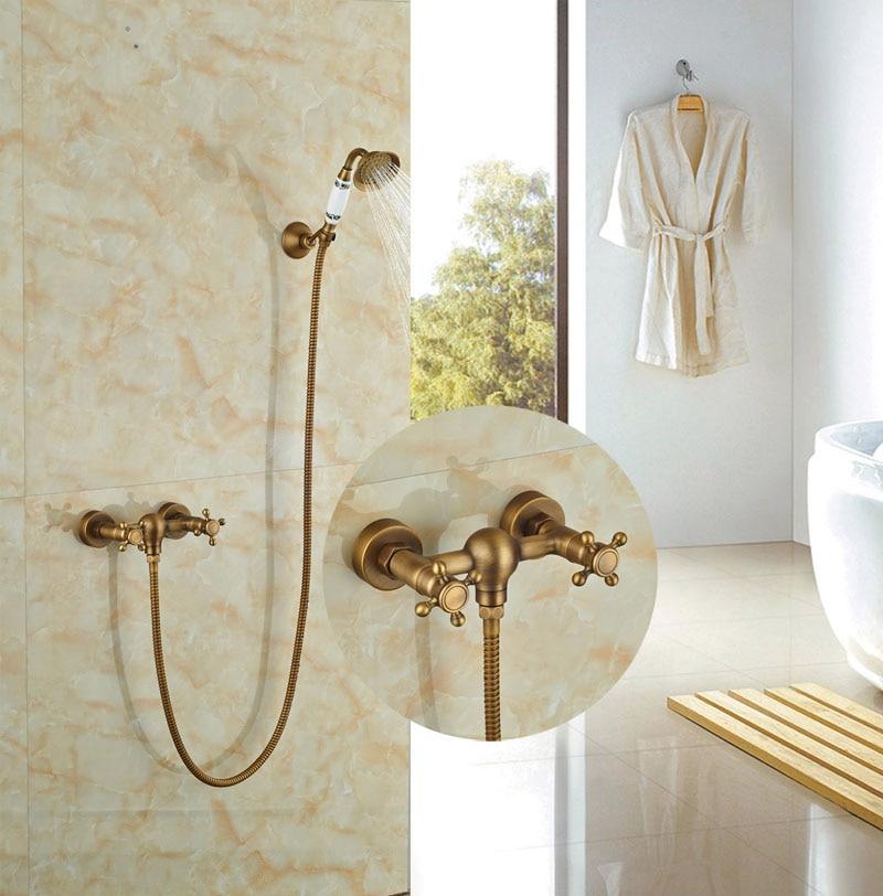 Contemporary Antique Brass Bath Shower Set Wall Mounted Double Handles Tap Hot&Cold Faucet gappo classic chrome bathroom shower faucet bath faucet mixer tap with hand shower head set wall mounted g3260