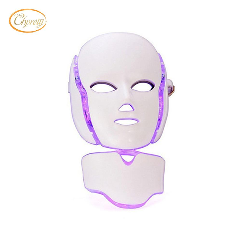 7 colors PDT photon led LED facial neck mask Smart system Led light therapy mask for Anti-Aging Beauty Mask