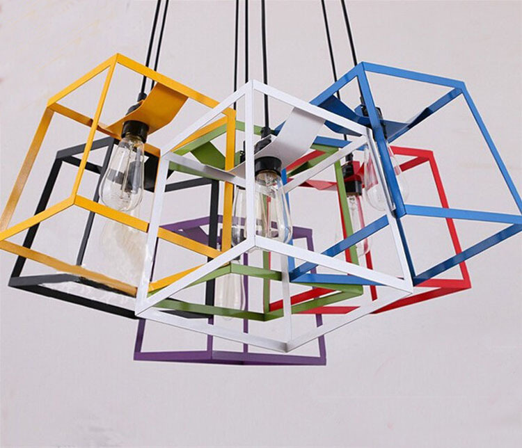 цены Modern Minimalist CUBE BOX FRAME Pendant Light Geometric Simple bar counter kitchen ceiling lamp light fixture