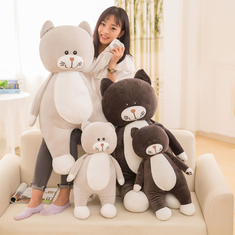 1 Piece 60/75cm Soft Cat Plush Toy Pillow Stuffed Animal Sofa Cushion Bed Toys Children Gift Or Bedroom Decoration