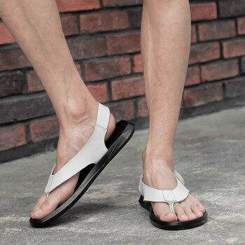 Sandalia De Plataforma Blanca | 2019 Nuevas Sandalias De Verano Para Hombre, Zapatos De Cuero Genuino Y Transpirables, Sandalias De Playa De Plataforma Para Hombre, Para Hombre, Blancas Y Negro