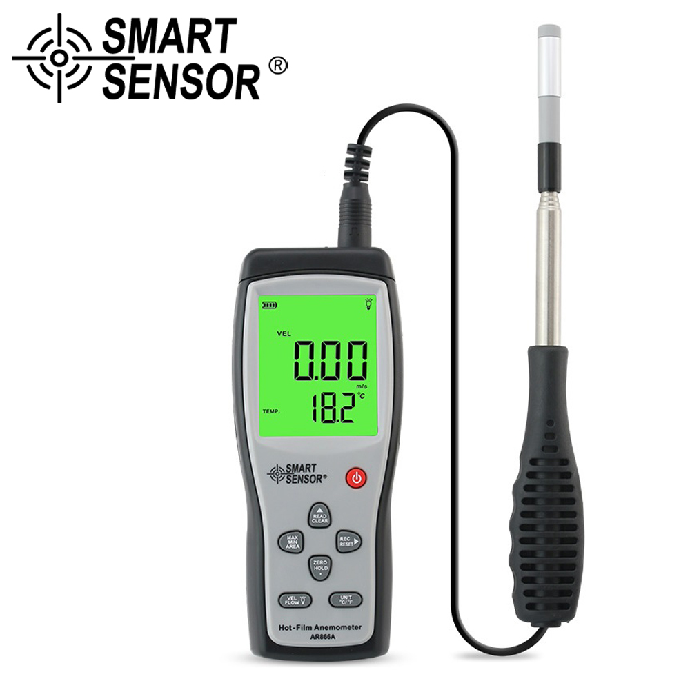 Digital Hot film Anemometer Wind Speed meter Air Velocity Temperature measurement 40M S Data Hold to