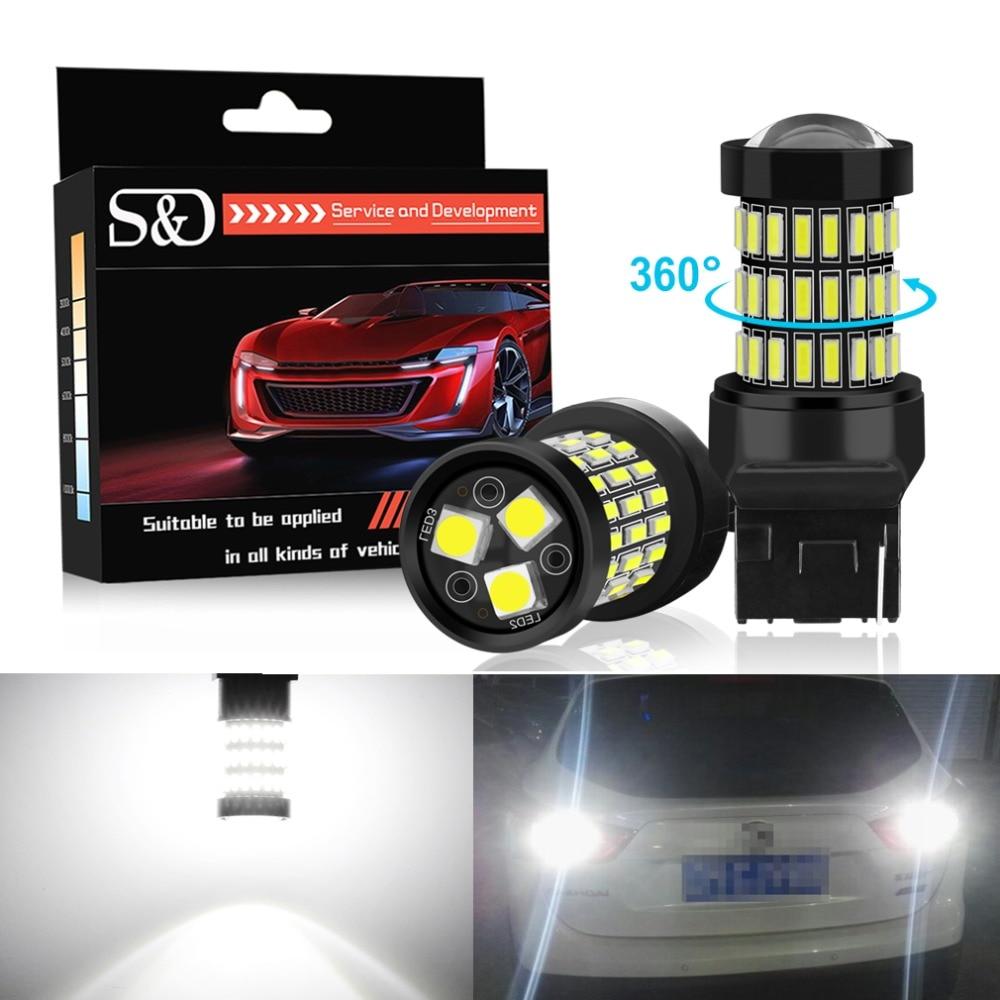 S D 2pcs T20 7440 W21W WY21W LED 7443 SRCK W21 5W LED Bulbs 12V Car