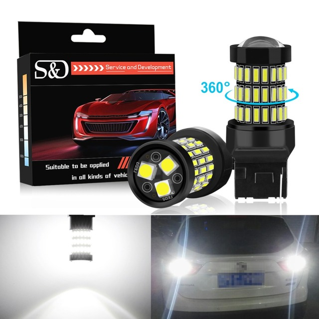 S&D 2pcs T20 7440 W21W WY21W LED 7443 SRCK W21/5W LED Bulbs 12V Car Lights Turn Signal Brake Reverse Tail Lamp Auto 1200LM