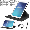 3 в 1 Стенд PU Кожаный Вращающийся Чехол для Samsung Galaxy Tab E 8.0 T377A T377V T377R T377P Tablet Чехол + OTG + Стилус
