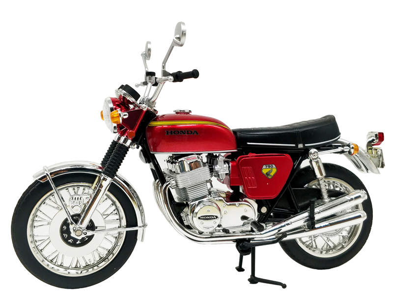 1:12 Scale Diecast Motorcycle Aoshima Red Honda Dream CB750Four Japan Model Toy