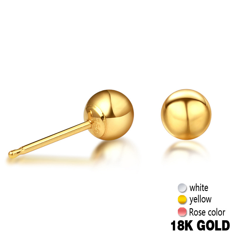 Trendy 18k Pure Real Gold Rose/White/Yellow Ball Stud Pierced Earrings Women Girl Genuine AU750 Solid Fine Jewelry Gift PartyTrendy 18k Pure Real Gold Rose/White/Yellow Ball Stud Pierced Earrings Women Girl Genuine AU750 Solid Fine Jewelry Gift Party