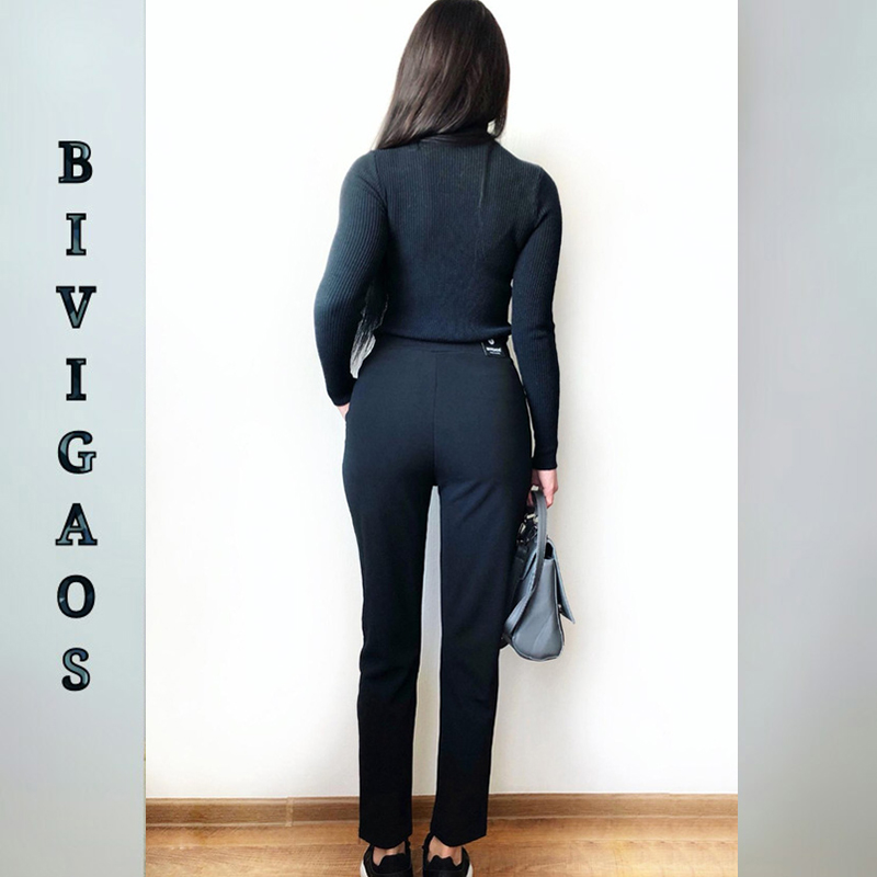 BIVIGAOS Spring Summer New Ladies Korean OL Black Harem Pants Breathable Thin Casual Pencil Pants Simple Suit Trousers For Women 4