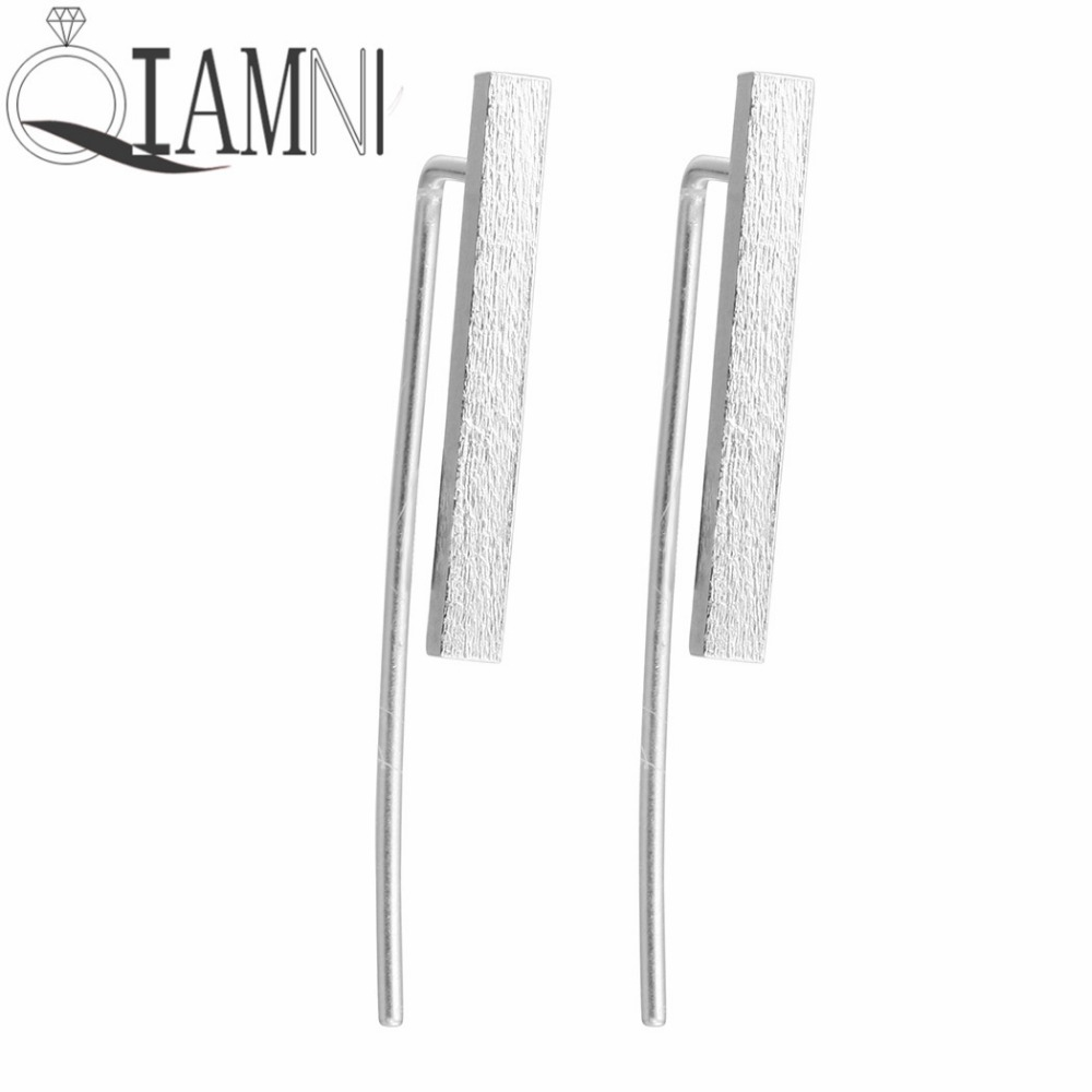 QIAMNI 925 Sterling Silver Bar Cuff Climber Crawlers Hook Stud Earring for Girls Accessories Birthday Christmas Gift Jewelry