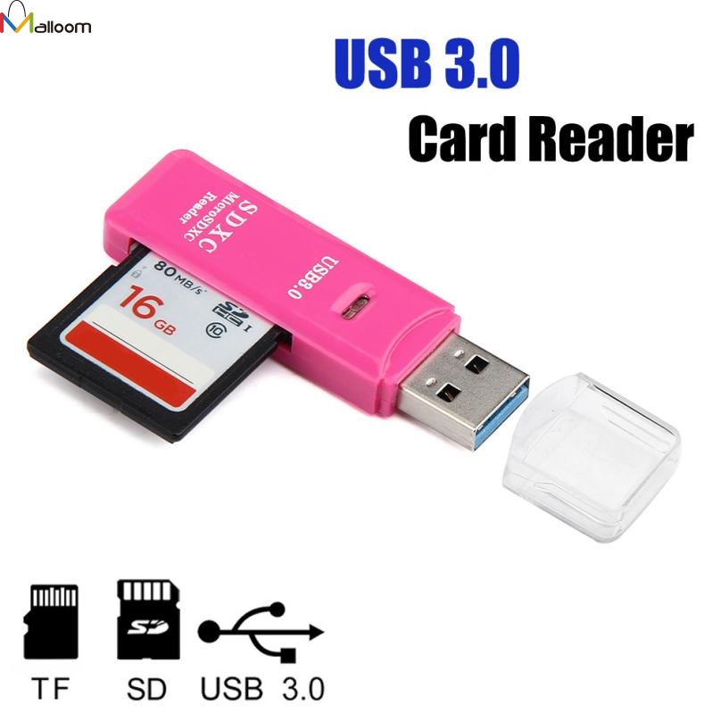 Malloom 2 in 1 USB 3.0 High Speed Micro SD SDXC TF T-Flash Memory Card Reader Adapter USB3.0 mini card reader rose red