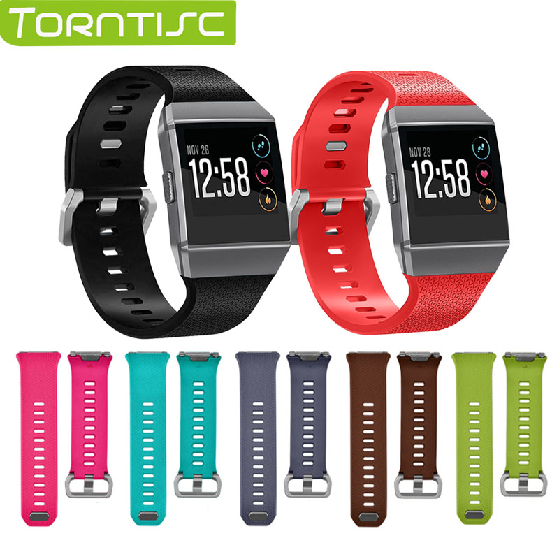 Torntisc Smart Accessories Silicone Bracelet Wrist Strap Wristband Replacement Watchband for Fitbit ionic band Small Large Size fitbit watch