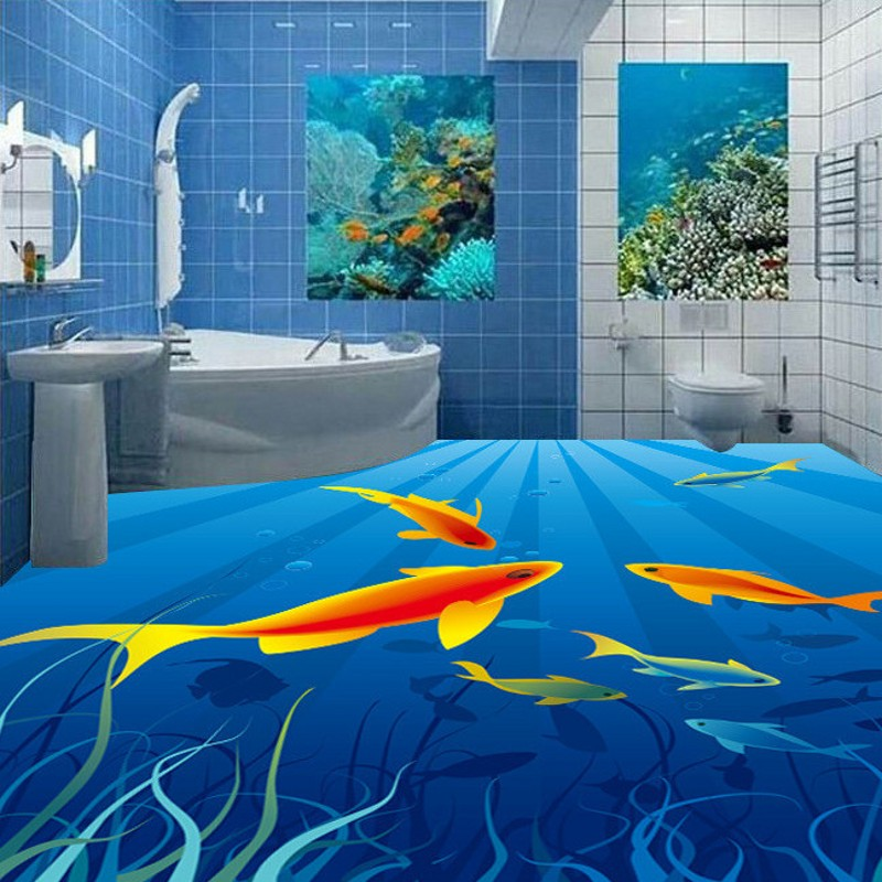 Free shipping custom photo wallpaper living room kitchen decoration fish floor mural self-adhesive PVC floor stickers