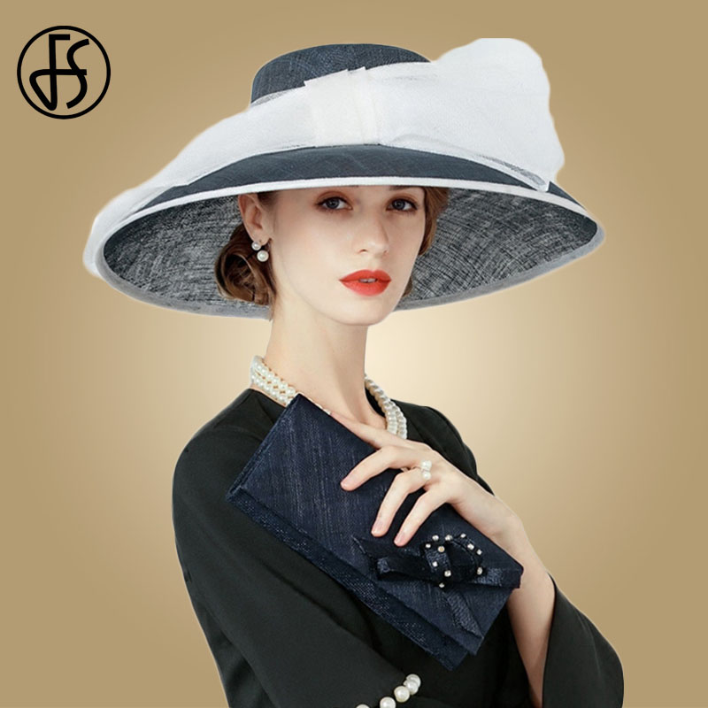 8e3d60e318fd1 FS Ladies Sinamay Church Hat For Women Royal Blue Wedding Dress Hat  Kentucky Fascinator Kentucky Derby Bow Large Brim Fedoras