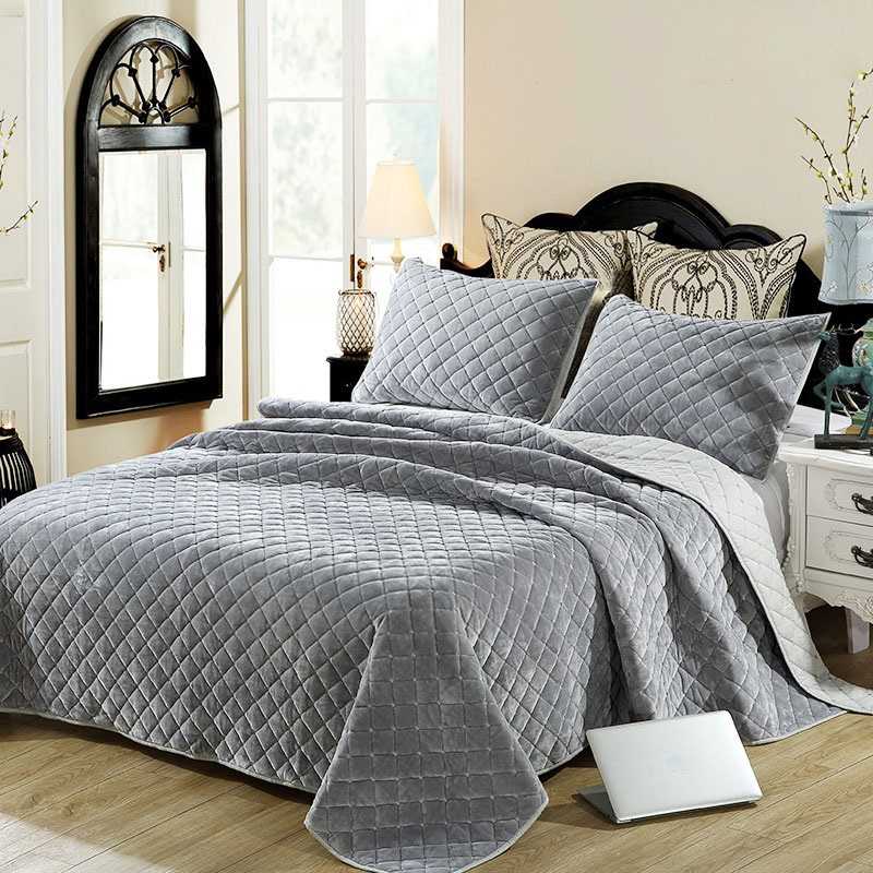 Cotton Bedspread Quilt Set 3pcs Coverlet Winter Plush Bedding Embroidered Quilts Bed Cover Pillowcase King Queen Size Blanket in Quilts from Home Garden