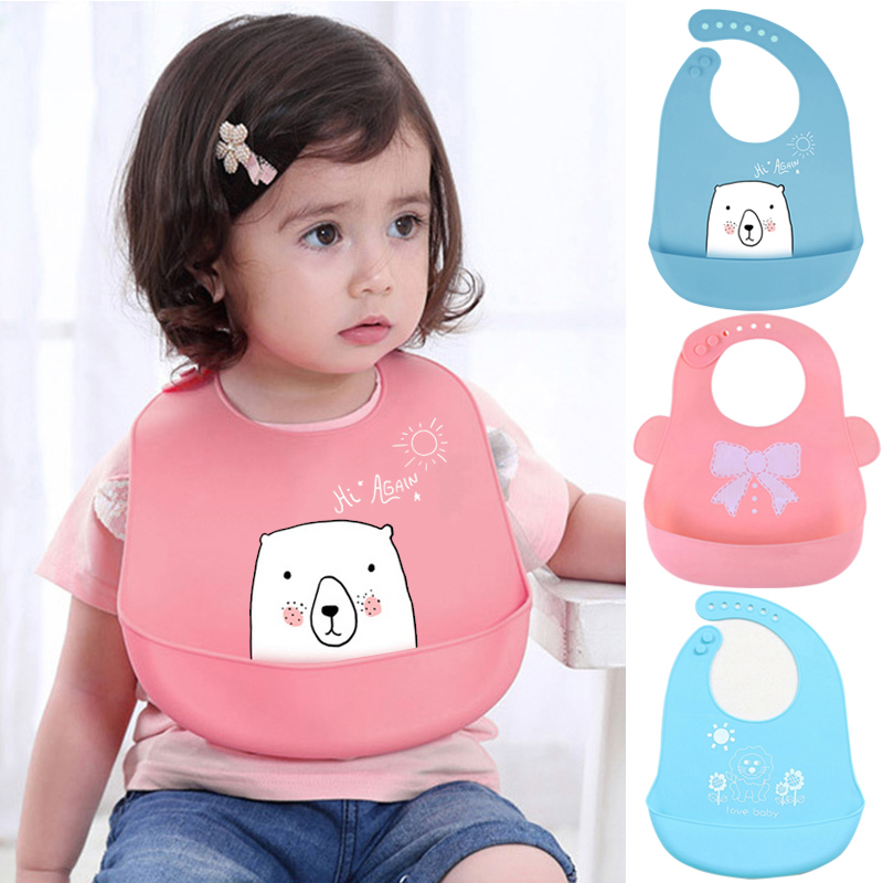 I LOVE DAD Cartoon Kids Silicone Baby Bibs Children's