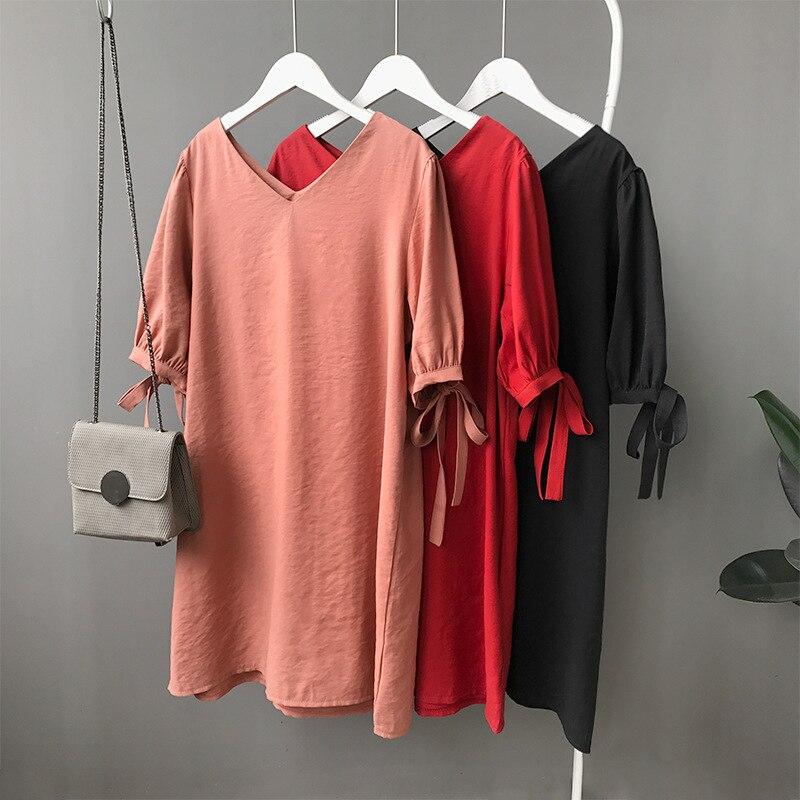 Summer Korean Women Orange T Shirt Dress Deep V Neck Lace Up Short Sleev Boyfriend Cotton Dresses