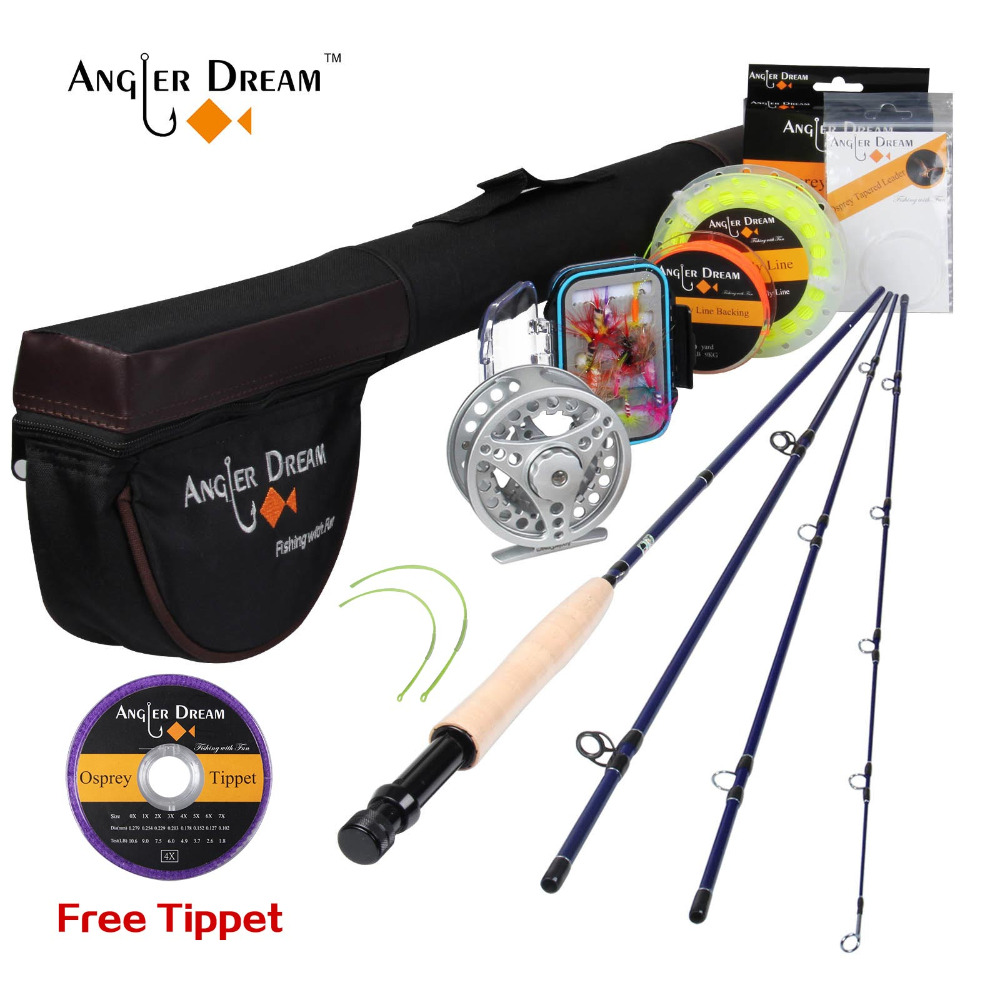 Angler Dream 5WT Fly Fishing Combo 9FT Medium-fast Fly Rod Pre-spooled Fly Reel 5F Fly Line With Cordura Triangle Tube