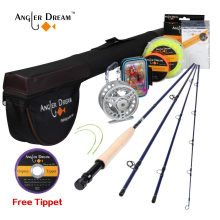Angler Dream 5WT Fly Fishing Combo 9FT Medium-fast Fly Rod Pre-spooled Fly Reel 5F Fly Line With Cordura Triangle Tube(China)