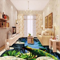 Free Shipping 3D outdoor peacock mountain scenery flooring wallpaper dining room lobby hall floor mural