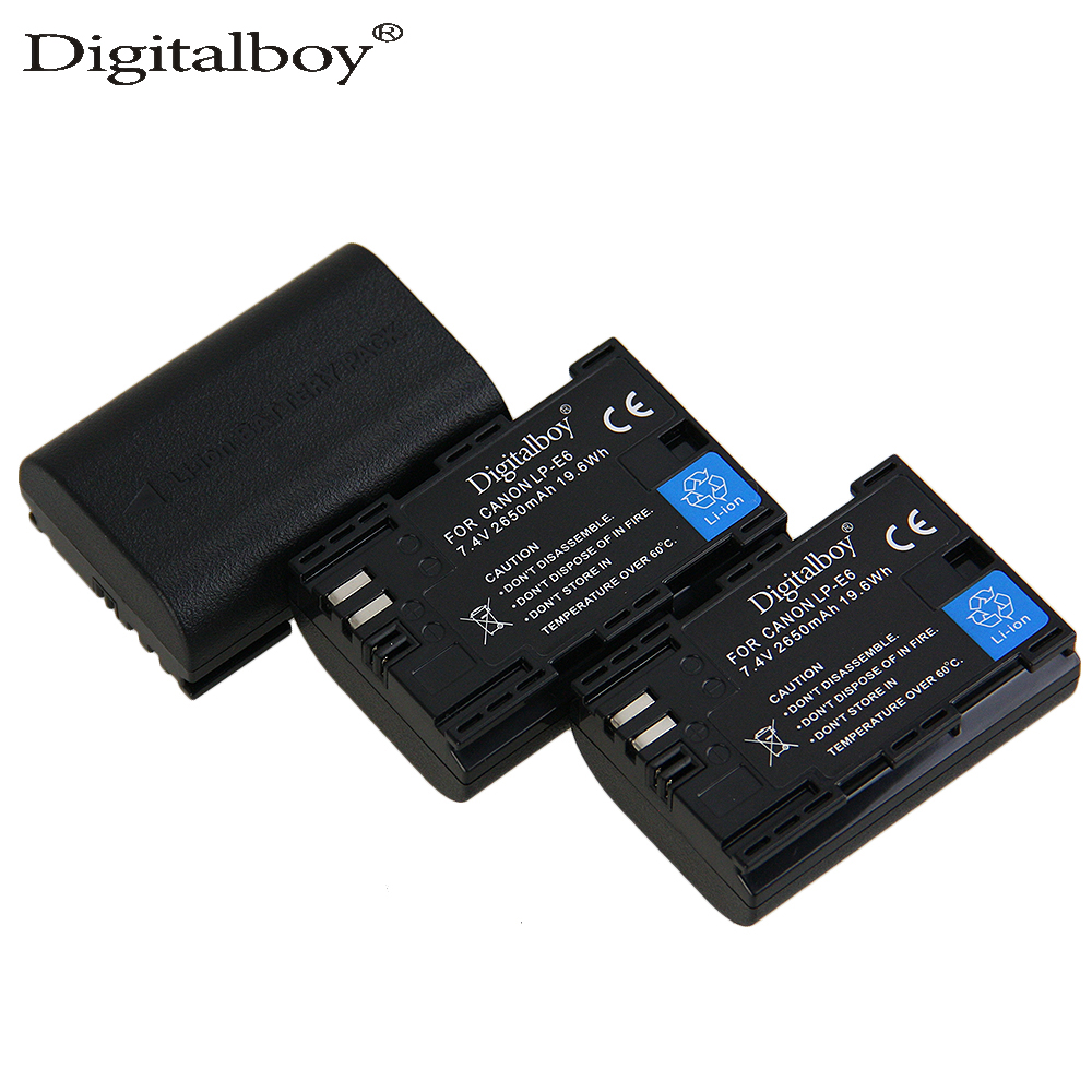 DigitalBoy 3PCS 2650mAh LP-E6 LP E6 LPE6 New Rechargeable Digital Camera Battery For For ...