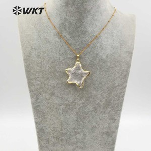 Image 4 - WT N1119 Wholesale Fashion Diy Knotted Crystal Quartz Necklace pendant Natural Stone Star with gold trim necklace jewelry