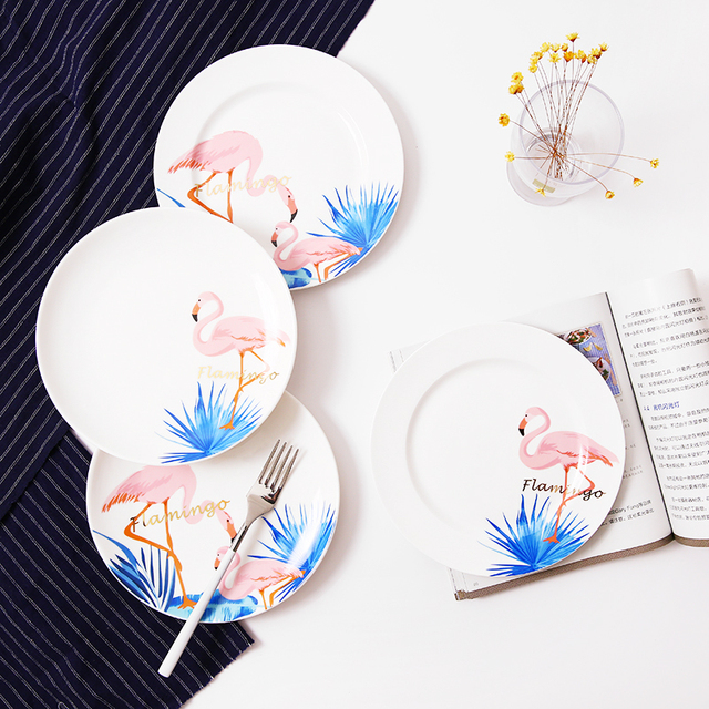 Dinner Plates Flamingo Printed 8*inch Bone China Cake Dishes Plate Porcelain Pastry Fruit Tray  sc 1 st  AliExpress.com & Dinner Plates Flamingo Printed 8*inch Bone China Cake Dishes Plate ...