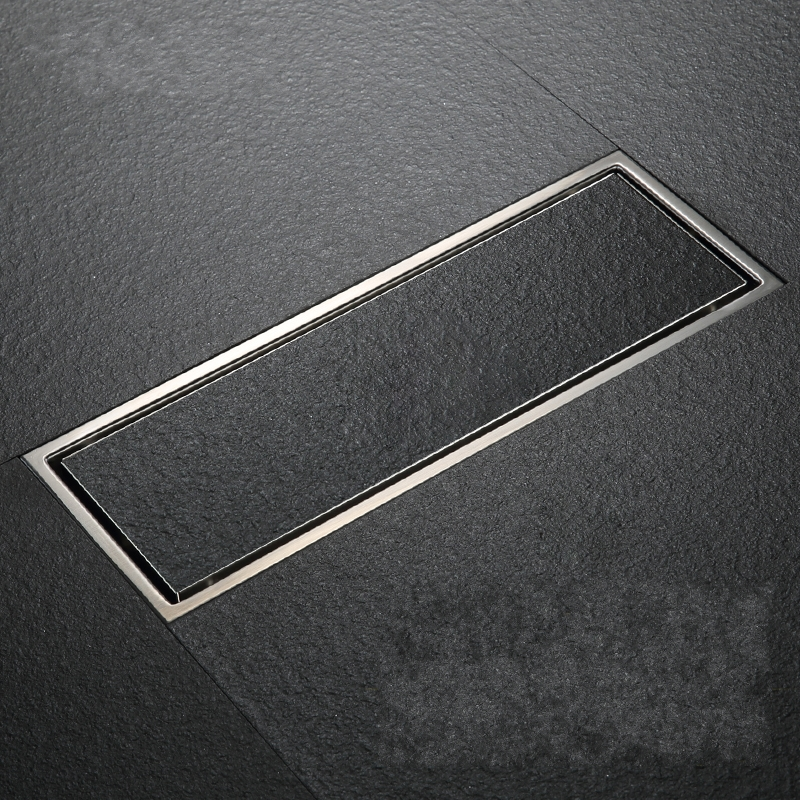 ФОТО 30pcs/lot 304 solid stainless steel 300 x 110mm square anti-odor floor drain bathroom invisible shower drain