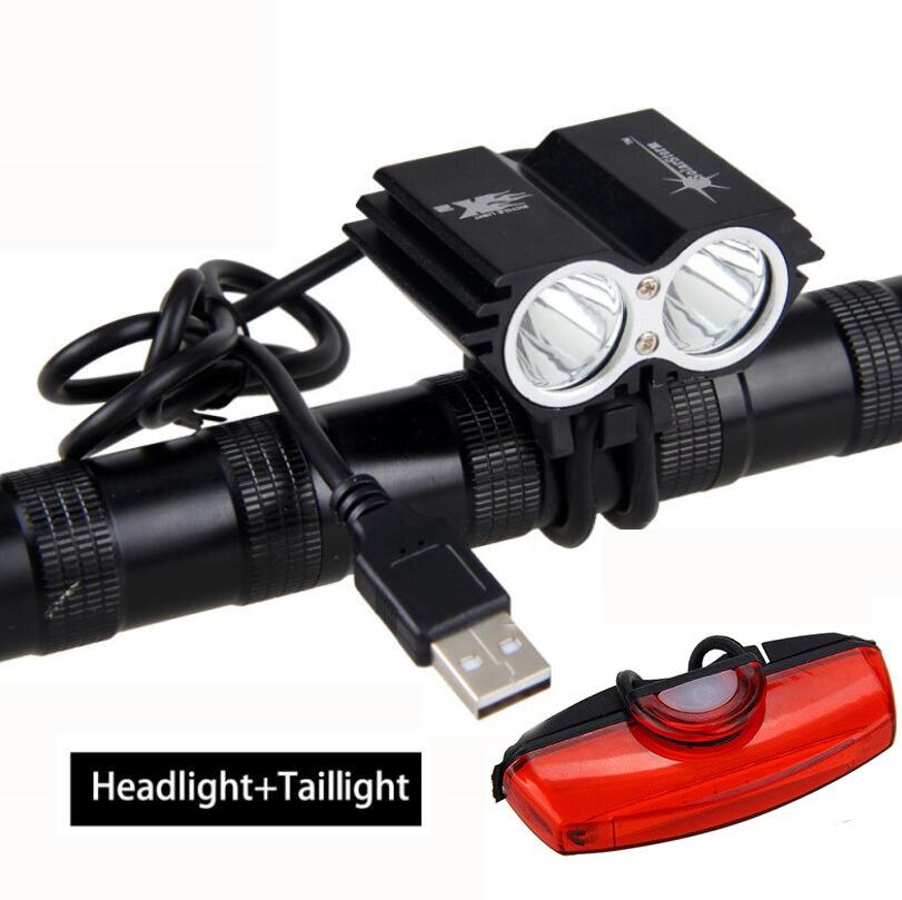 USB noir antichoc chargeant 8000 Lumens T6 LED lumière de vélo 3 Modes avant vélo vélo lampe avec batterie Rechargeable ensembles
