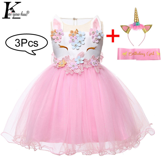 11961352411c3 US $9.1 30% OFF|Newborn Baby Girls Dress Summer Infant Unicorn Party Dress  1 Year Birthday Dress For Baby Girls Princess Dress vestidos infantil-in ...