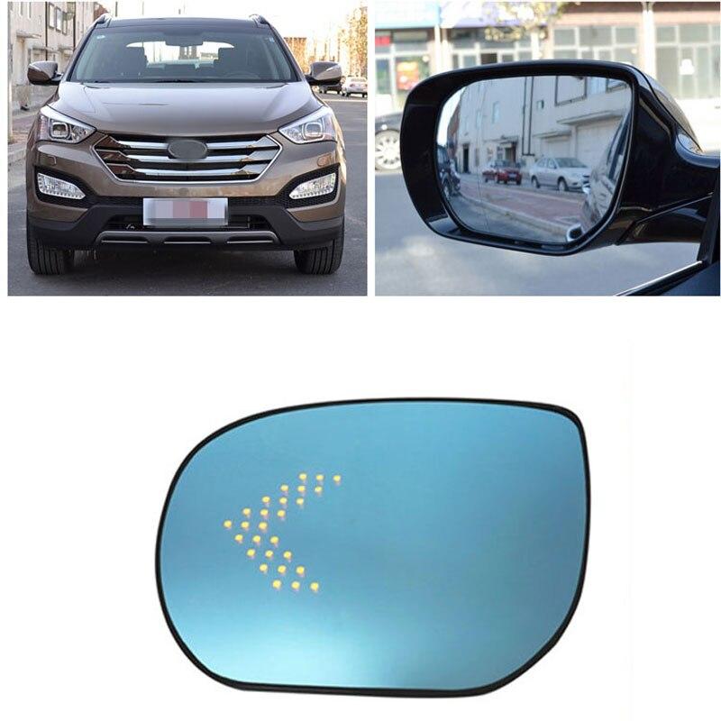 цена на Power Heated Blue Wide Angle Sight Side Rear View Mirror Glasses For Hyundai Santa Fe 2013