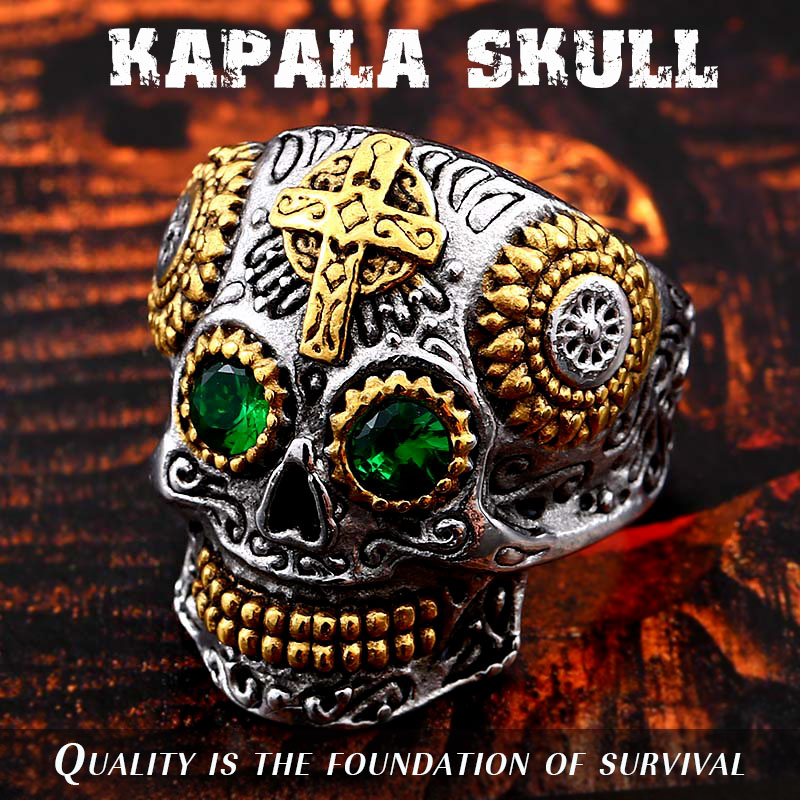 BEIER Stainless Steel Gothic gold Carving kapala skull mask Ring Biker Hiphop rock Jewelry Unique fashion Gift for men BR8-327(China)