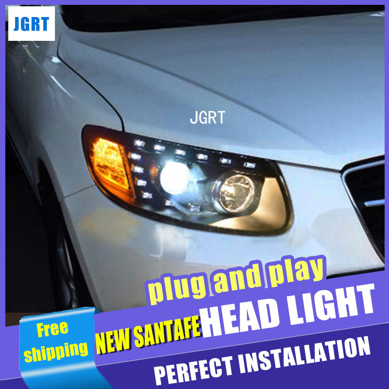 Car Styling for Hyundai New SantaFe Headlight assembly 2012 Santa Fe LED DRL Lens Double Beam H7 with hid kit 2 pcs.