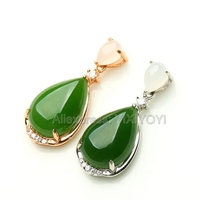 925 Silve Gold Natural Green HeTian Jade Water Dropping Drop Design Lucky Pendant + Free Necklace Woman's Gift Fine Jewelry