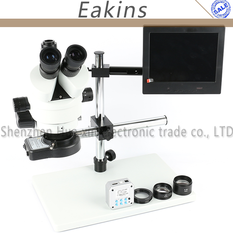 7X 90X Simul Focal Trinocular Stereo Microscope+Big Boom stand+0.5/2X Auxiliary Objective Lens+144 LED+16MP HDMI USB Camera amscope sw 3t24z trinocular stereo microscope wh10x eyepieces 20x 40x 80x magnification 2x 4x objective single arm boom stand includes 2 0x barlow lens