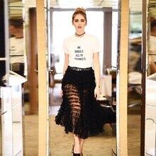 KY & Q Лето Chiara Ferragni взлетно-посадочной полосы Для женщин топы футболки Высокое качество с коротким рукавом Круглая горловина с принтом букв Футболка Camisa feminina