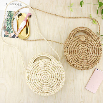 FGGS Round Paper rope Beach Bag Summer mini Vintage Handmade Crossbody straw Bag Girls Circle Rattan bag Small Bohemian Shoulder 1