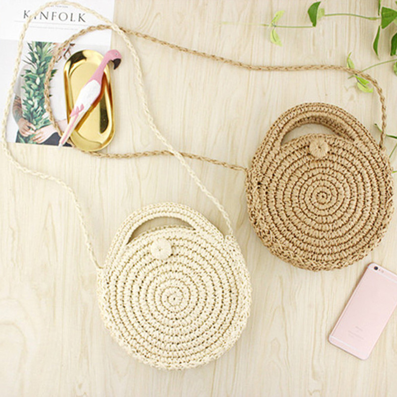 FGGS Round Paper Rope Beach Bag Summer Mini Vintage Handmade Crossbody Straw Bag Girls Circle Rattan Bag Small Bohemian Shoulder