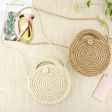 FGGS Round Paper rope Beach Bag Summer mini Vintage Handmade Crossbody