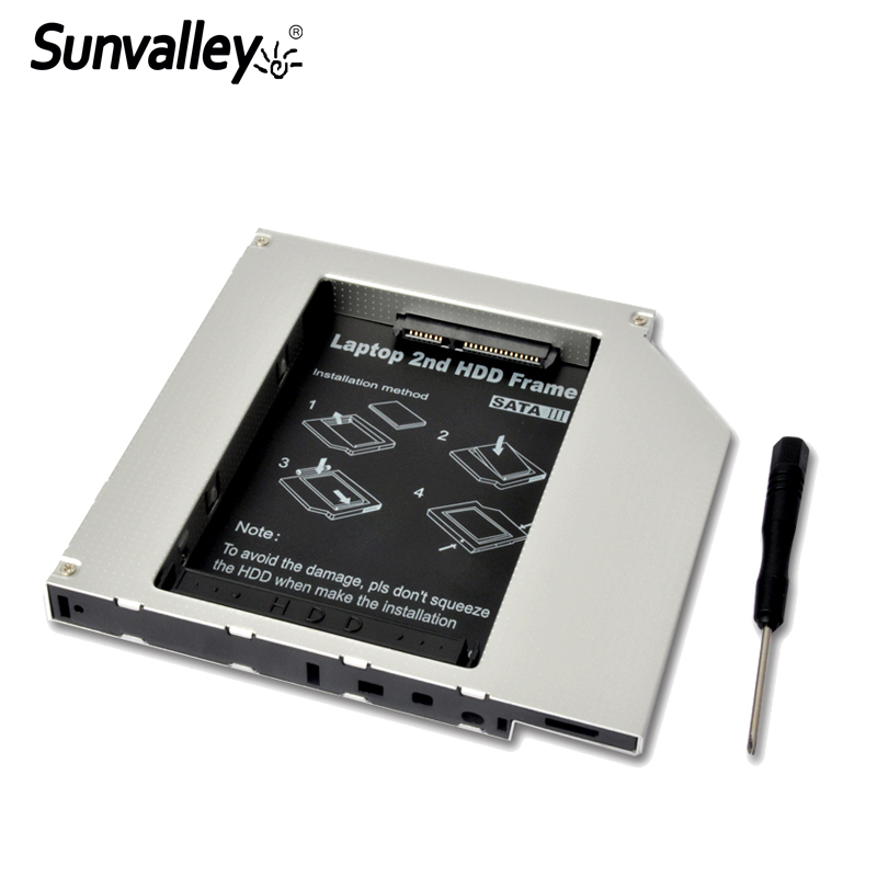 Sunvalley SATA To SATA3 12.7mm Universal Aluminum 2nd Hdd Caddy For Laptop Notebook Series